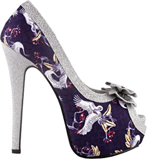 Show Story Silver Butterfly Print Bow Platform High Heel Stiletto Pumps,LF80814
