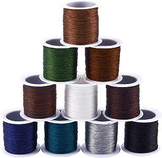 PH PandaHall 10 Colors Metallic Hand Knitting Cord String 0.4mm Tinsel String Metallic Making String 1640ft Beading Thread...