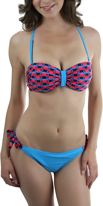 ToBeInStyle Women's Thick Chain Link Print Two Piece Bikini Set  bluee  38