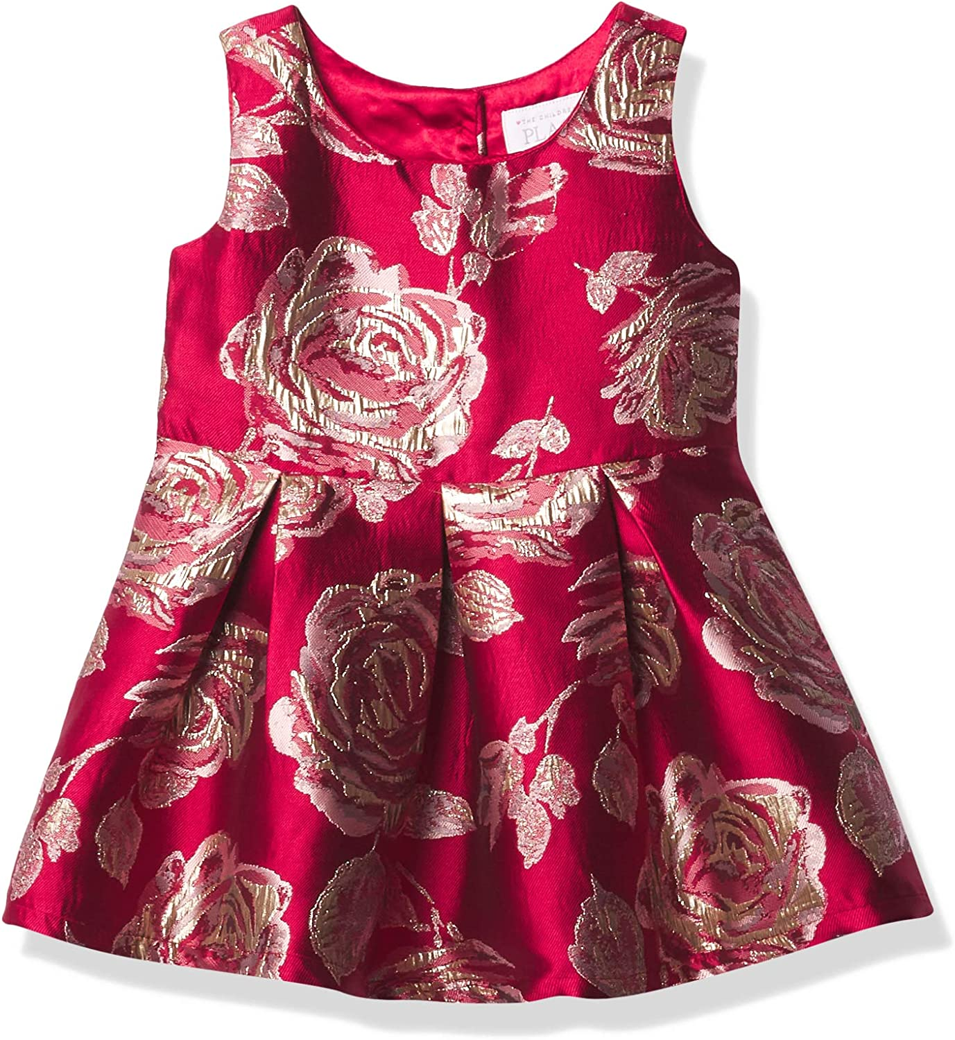 The Children's Place Girls' Toddler Mommy and Me Metallic Rose Jacquard Matching Dress