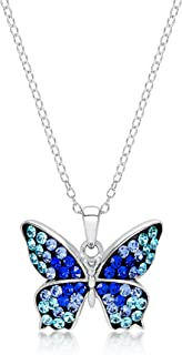 Blue shade Crystal Butterfly Pendant Necklace for Women & Girls