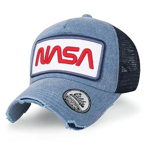 7b8fba0bb94263 ililily NASA Worm Logo Embroidery Baseball Cap Mesh Snap Back Trucker Hat  Flat Bill