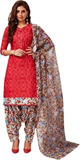Jevi Prints Women's Cotton Printed Straight Stitched Salwar Suit Set (SUIT_SP-4643_Red & Multicolor)