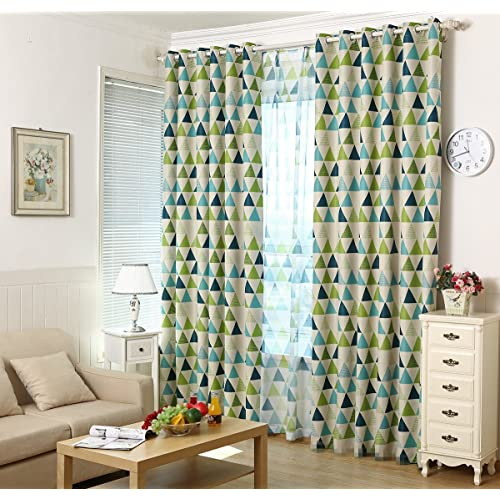 Lovely AliFish 1 Panel Geometric Triangle Pattern Thermal Insulated Semi Blackout  Curtains Room Darkening Study Room