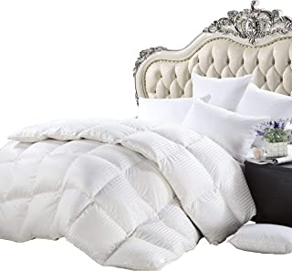 Luxurious Heavy King/California King Siberian Goose Down Comforter All-Season Duvet Insert, Premium Baffle Box, 1200 Thread Count 100% Egyptian Cotton, 750+ Fill Power, 50 oz, White Damask Stripe