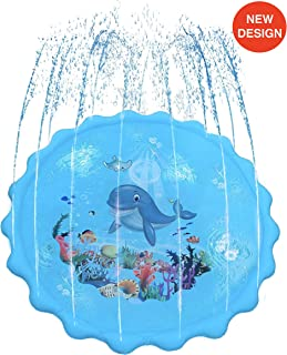 Dione Lane Splash Pad Sprinkler Mat - Kids Play Water Toys for Toddlers & Outdoor Fun, Kid Toddler Toy Sprinklers for Outside Backyard Summer Party Activity Play