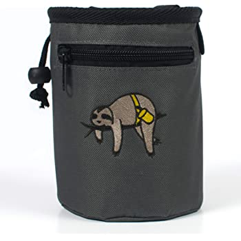 Craggy's Chalk Bag for Kids and Adults with Drawstring Closure, Zippered Pocket, Adjustable Quick-Clip Belt and Embroidered Sloth Design