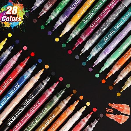 SAWAKE Pintura Acrílica 28 Colores, Rotuladores Permanentes de Colores Impermeable No Tóxico para Piedra, Cerámica, Vidrio, Guijarros, Tela, Madera con Punta Reversible Redonda y Biselada de 0.7-3 mm