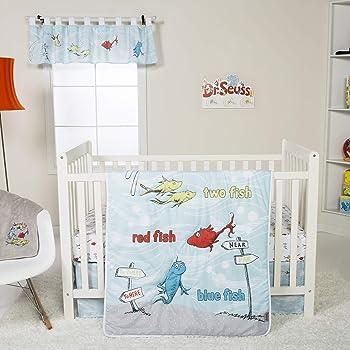 Trend Lab Dr. Seuss One Fish Two Fish 4Piece Crib Bedding Set Nursery Baby Bedding