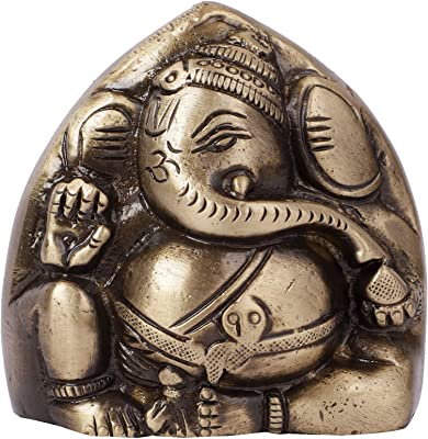 Two Moustaches Brass Two Faced Ganesha Paper Weight