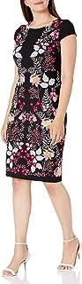 Sandra Darren womens 1 PC Cap Sleeve Mirror Printed Bullet Puff Sheath Dress Casual Dress
