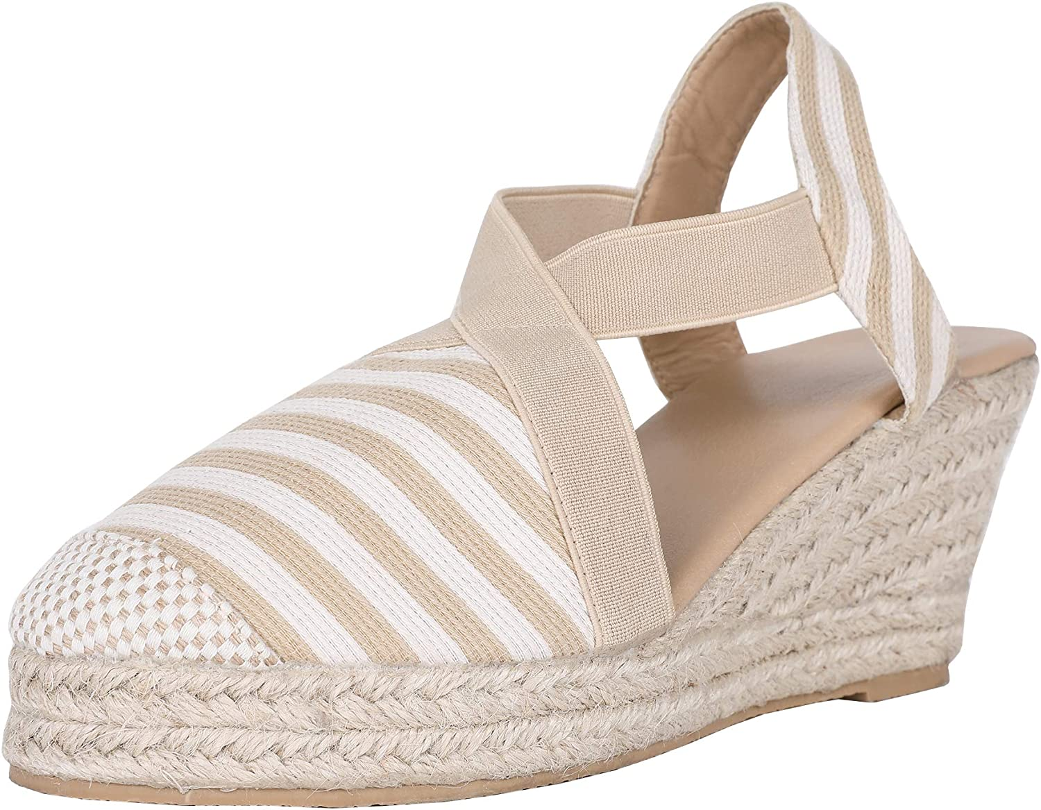 FISACE Womens Summer Espadrille Heel Wedges Ankle Buckle Strap Closed Toe Sandals shoes