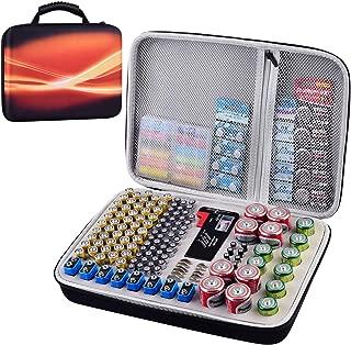 Battery Organizer Storage Box Case with Tester Checker BT-168. 200+ Batteries Holder Garage Organization Holds AA AAA C D 9V 3V 2A 3A 4A Lithium Cell LR44 CR2 CR1632 CR2032 Button Batteries
