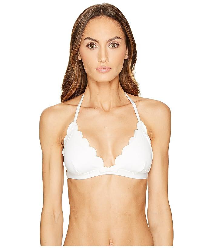 Kate Spade New York Core Solids #79 Scalloped Triangle Bikini Top w/ Removable Soft Cups (White) Women