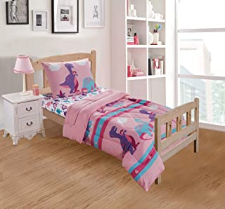 Better Home Style Multicolor Pink Blue Purple Dinosaurs Printed Fun Design 3 Piece Comforter Bedding Set for Girls/Kids/Toddler Bed in a Bag with Fitted Sheet # Dinosaur Land Pink (Toddler Bed)