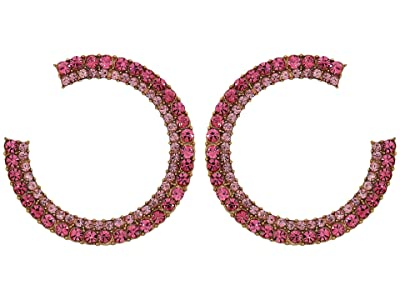 J.Crew Pave Crystal Hoops Earrings (Sundrenched Peony) Earring