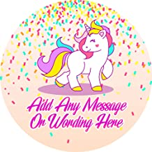 Confetti Unicorn Sticker Labels (24 Stickers, 1.8'' Inch Each) Personalized Ideal for Treat Favor Party Bags Candy Cones Jars Gift Boxes Bottles Crafts