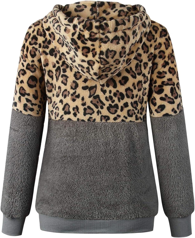 Luotuo Damen Hoodie Kapuzenmantel Einfarbig Casual Winter Doppelseitiger Plüsch Warme Langarm Reißverschluss Oversize Sweatshirt Mantel Tops Coat Outwear Mit Kapuze Grau + Leopard