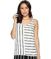 1.STATE - Short Sleeve V-Neck Mixed Stripe