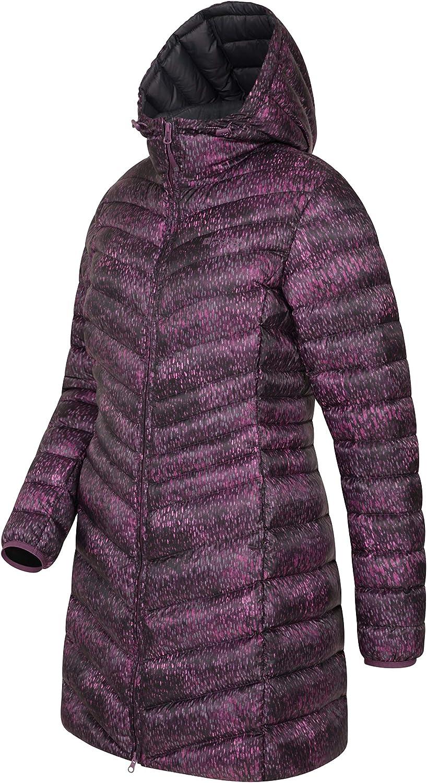 Mountain Warehouse Florence II Gefütterte Damen Lange Winterjacke, Regenjacke, Atmungsaktive, Damenjacke mit Fleecefutter Beerenton (Gedruckt)