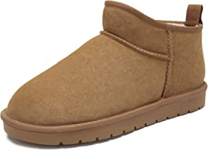 CAMEL CROWN Men's Fur Snow Boots Suede Leather Casual Winter Slip on Boots Unisex House Slippers Women's Bootie