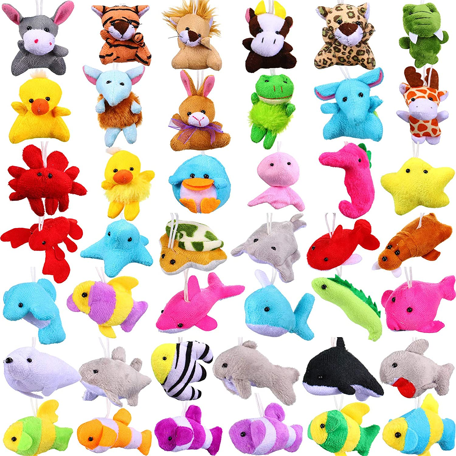 42 Pieces Mini Plush Animals Toys Set, Cute Small Stuffed Animal Plush Keychain Decorations for Themed Party Favors, Carnival Prizes, Classroom Rewards, Goody Bags Filler for Boys Girls