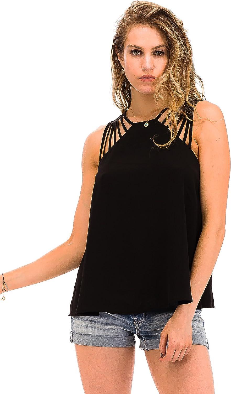 Malibu Days Multi Strap Sleeveless Woven Basic Blouse