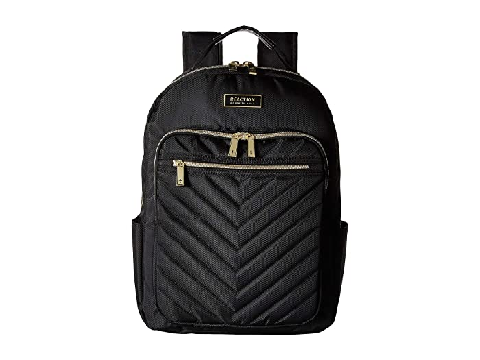 Kenneth Cole Reaction  Polyester Twill Chevron Backpack (Black) Backpack Bags