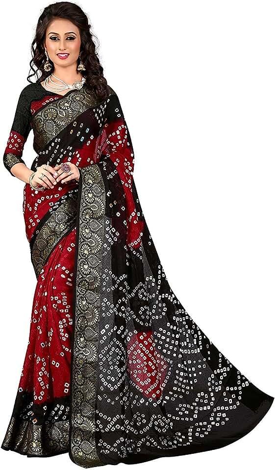 Indian Flosive Bandhani Mysore Silk Saree With Blouse Piece(FL- bandhani Black) Saree