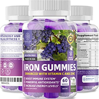 N1N Premium Iron Gummies with Multivitamins for Kids and Adults [11 Powerful Ingredients] All Natural Iron Supplement to B...