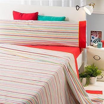 Sancarlos- Juego de sábanas RIGA, Algodón-poliéster, Color Coral, Cama de 90: Amazon.es: Hogar