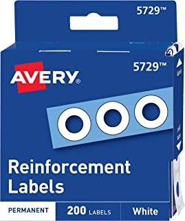 "Avery 05729 Dispenser Pack Hole Reinforcements, 1/4"" Dia, White (Pack of 200)"