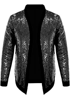Pacinoble Mens Cardigan All Over Sparkle Sequin Open Front Long Sleeve Jacket with Ribbed Cuffs