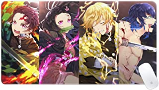 uzzc Anime Demon Slayer Mouse Pad Tenacious Fight Gaming Mouse Pad Large Mouse Pad Non-Slip Desk Mouse Pads for Office Hom...