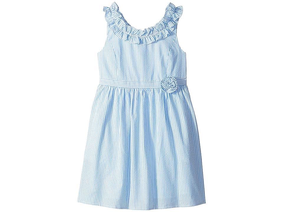 Lilly Pulitzer Kids Georgina Dress (Toddler/Little Kids/Big Kids) (Coastal Blue Seersucker) Girl