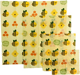 UGOS Organic Beeswax Food Wraps - Reusable Bees Wax Paper Wrap, Assorted 4 Pack (Other Bee)