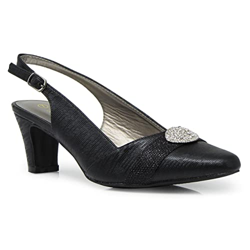 ca4cfde02 Enzo Romeo cambria02 Women's Wide Width Sling Back Low Heeled Pointy Pumps Sandals  Shoes