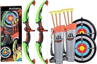 مجموعه بسته های اسباب بازی 2 بسته مجموعه Arrowy Bow Arrow با اهداف ، ساکشن جام فلش و لرز ، چراغ روشنایی عملکرد اسباب بازی برای پسران دختران داخل سالن و فضای باز باغ سرگرم کننده بازی