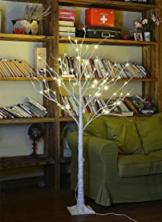 LIGHTSHARE 4 Feet Birch Tree, 48 LED Lights, Warm White, for Home, Festival, Party, and..
