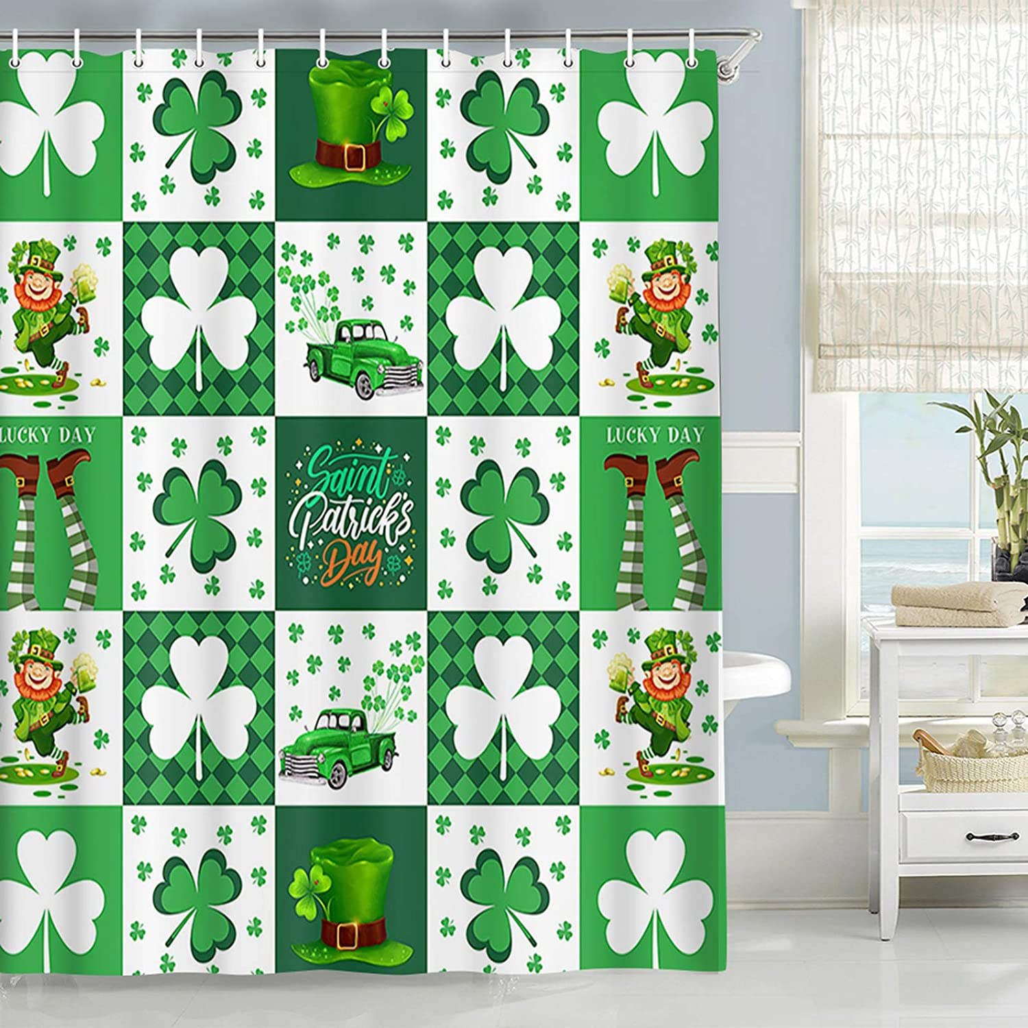 St. Patrick's Day Selling Shower store Curtain Cute C Truck Rustic Gnome with
