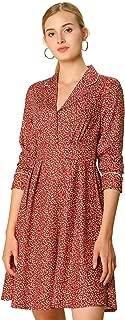 Allegra K Women's Vintage Long Sleeve Lapel Collar Casual Floral A-Line Dress XS (US 2)