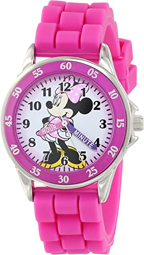 Minnie Mouse Kids' Analog Watch with Silver-Tone Casing, Pink Bezel, Pink Strap - Official Minnie Mouse Character on ...