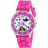 Minnie Mouse Kids' Analog Watch with Silver-Tone Casing, Pink Bezel, Pink Strap - Official Minnie...