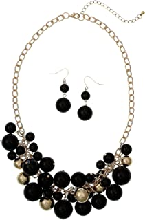 Goldtone Shaky Beaded Necklace And Drop Earrings Set