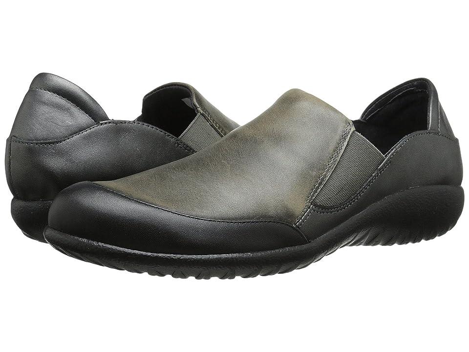 Naot Moana (Black Raven Leather/Vintage Gray Leather/Metallic Road Leather) Women