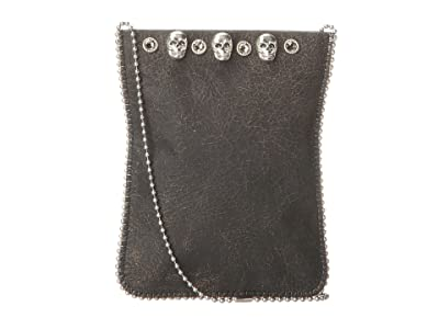 Leatherock Cell Pouch/Crossbody (Flake Black/Grey/Skulls) Bags