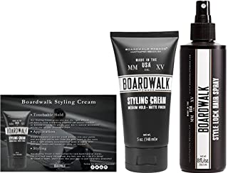 Boardwalk Pomade Styling Cream and Men's Hair Spray Bundle Matte Styling Cream 5 oz and Style Lock Mens Hairspray 8 oz Boxed for Gifting The Man You Love.