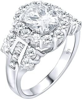 Women's Sterling Silver .925 Promise Bridal Engagement Ring Featuring a 1.3 Carat Oval Cubic Zirconia (CZ) Stone Surrounded by 26 Round (CZ) Stones. Platinum Plated