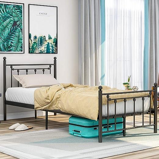 Merax FRIG Hochwertiger Metallbettrahmen mit Kopf- und Fußteil, Bett für Schlafzimmer der Kinder, Jugendliche und Erwachsene,Schwarz (90 x 200 cm)