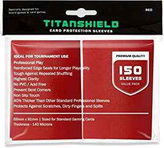 TitanShield (150 Sleeves/Red Standard Size Board Game Trading Card Sleeves Deck Protector..